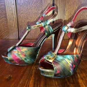 ALDO Tye-dyed Satin & Copper Mary Jane Stilettos